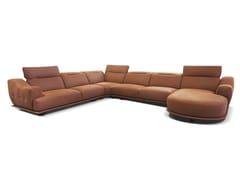 Divano angolare in pelle con chaise longueFELLINI | Divano con chaise longue - ROSSINI