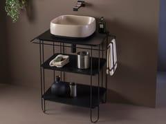 Consolle lavabo in acciaio inox e vetro con porta asciugamaniFILO 60 - CERAMICA FLAMINIA