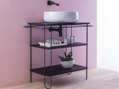 Consolle lavabo in acciaio inox e vetro con porta asciugamaniFILO 75 - CERAMICA FLAMINIA