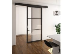 Porta scorrevole in legno e vetroFLAT F3 TOTAL BLACK | Porta scorrevole - FOA