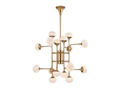 Lampada a sospensione in ottone con paralumi in vetro opale FLEMING - HUDSON VALLEY LIGHTING GROUP