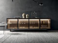 Madia in legno e vetro con illuminazione integrataFLOAT - MODULNOVA