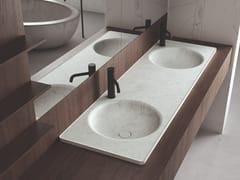 Lavabo da incasso soprapiano doppio rotondo in marmo FLOE | Lavabo doppio -