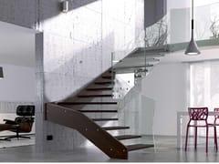 Scala a sbalzo in legno e vetroFLY XC - MOBIROLO
