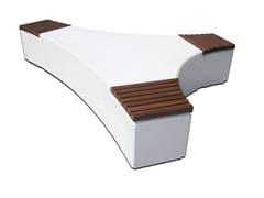 Calzolari, FOLIA WOOD Panchina modulare in calcestruzzo con seduta in legno