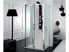 Box doccia centro stanza con porta a battenteFPB40 + FISSO | Box doccia centro stanza - TAMANACO