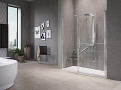 NOVELLINI, FREE 1 G+F IN LINEA Box doccia a nicchia con porta a battente e fisso in linea