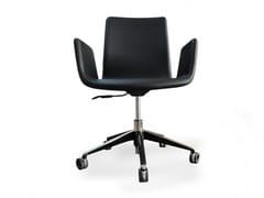 Sedia ufficio ad altezza regolabile in pelle a 4 razze con ruoteFURTIF - ROCHE BOBOIS