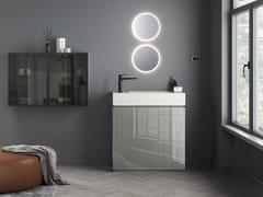 Mobile lavabo componibile da terra in cristallo con lavabo integratoFUSION | Mobile lavabo singolo - ARTELINEA
