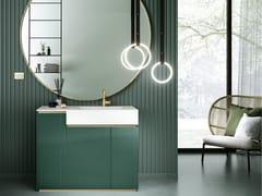 Mobile lavabo componibile da terra singolo in cristalloFUSION | Mobile lavabo con lavabo integrato - ARTELINEA