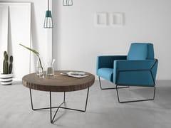 Tavolino basso rotondo in acciaio e legnoTALI - ALTINOX MINIMAL DESIGN