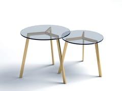 Tavolino basso rotondo in acciaio e vetroSTIL   Tavolino in acciaio e vetro - ALTINOX MINIMAL DESIGN