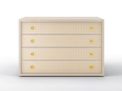 Cassettiera in legno massello e pelle con maniglie integrateGLENN | Cassettiera - BRUNO ZAMPA