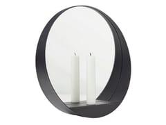 Specchio / portacandele in acciaioGLIM ROUND - GEJST