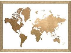 Poster con cornice in legnoGOLD FOIL WORLD MAP - MONDIART INTERNATIONAL