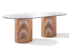Tavolo ovale in mogano e vetro temperatoGRAND ISOLA - SEORA