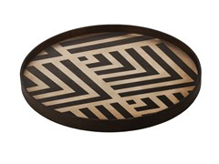 Vassoio rotondo in legnoGRAPHITE CHEVRON - NOTRE MONDE