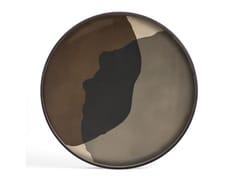 Vassoio rotondo in legno e vetroGRAPHITE COMBINED DOTS - ROUND XL - ETHNICRAFT