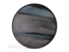 Vassoio rotondo in legno e vetroGRAPHITE ORGANIC - ROUND L - ETHNICRAFT