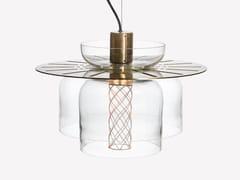 Lampada a sospensione a LED in ottone e vetro soffiatoGREENWAY S6 - ADESIGNSTUDIO