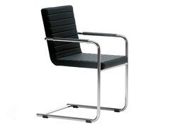 Sedia a slitta imbottita con braccioliH5 LR | Sedia con braccioli - MIDJ