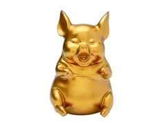 Salvadanaio in resina HAPPY PIG GOLD SITTING - KARE-DESIGN