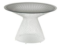 Tavolo da giardino rotondo in acciaio e cristallo HEAVEN | Tavolo rotondo - Heaven