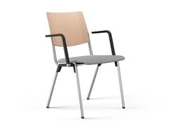 Sedia da conferenza imbottita in legno con braccioliHERO PLUS | Sedia da conferenza con braccioli - BRUNNER