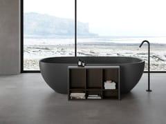 Vasca da bagno centro stanza ovale in Shark con libreriaHOLE | Vasca da bagno centro stanza - REXA DESIGN
