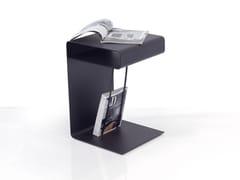 Tavolino alto quadrato in acciaio con portarivisteHOLLOW - INOX DESIGN DI SARAGGI ENNIO