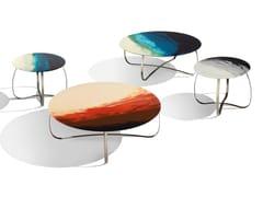 Tavolino rotondo con piano in resina su vetroHOLLY ART GLASS - MHOME