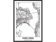 Poster con cornice in legnoHONG KONG, CHINA CITYMAP - MONDIART INTERNATIONAL