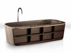 Vasca da bagno centro stanza in marmo e legnoHUG | Vasca da bagno - DECORMARMI