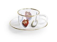 Tazza da caffè in vetro borosilicato con piattinoI LOVE YOU | Tazza - SELETTI