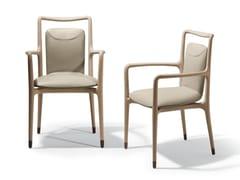 Sedia in pelle con braccioli IBLA | Sedia con braccioli -