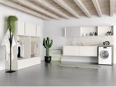 Birex, IDROBOX COMP. 4 Mobile lavanderia in derivati del legno con lavatoio per lavatrice