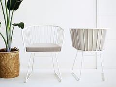 Sedia a slitta in alluminio con braccioli ILLA | Sedia con braccioli - Illa