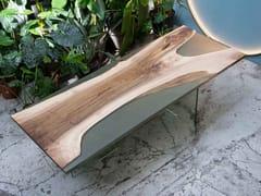 Tavolo rettangolare in noce e resina con base in vetroINDIANA | Tavolo in noce - FOR ME LAB