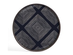 Vassoio rotondo in legno e vetroINK LINEAR SQUARES - ROUND L - ETHNICRAFT