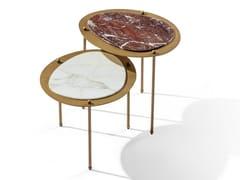 Tavolino ovale in marmo con struttura in ottoneISLAND H - L - BELLANI