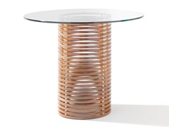 Tavolo alto rotondo in mogano e vetro temperatoISOLA   Tavolo alto - SEORA