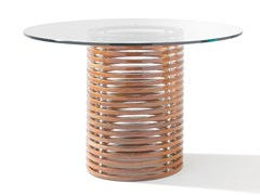Tavolo rotondo in mogano e vetro temperatoISOLA   Tavolo - SEORA