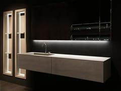 Mobile lavabo singolo sospeso con cassetti K.KUBE CEMENTO GRIGIO - K.Kube