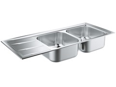 Lavello a 2 vasche da incasso in acciaio inox con gocciolatoio K400 - 31587SD0 | Lavello a 2 vasche - K400