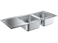 Lavello a 2 vasche da incasso in acciaio inox con gocciolatoio K500 - 31588SD0 | Lavello a 2 vasche - K500