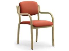 Sedia impilabile in legno lamellare e tessuto con braccioliKALOS 3 | Sedia con braccioli - LEYFORM
