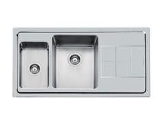 Lavello a 2 vasche in acciaio inox con gocciolatoioKE 1,5V DX(SX)+SC S/FT TPR INOX - FOSTER
