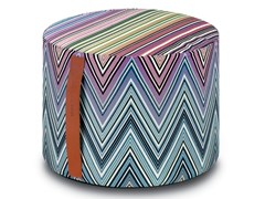 Pouf cilindro in tessuto jacquard KEW | Pouf - Master Moderno