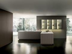 Cucina in legno con maniglie integrate con penisolaFLOAT   Cucina - MODULNOVA