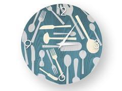 Orologio da parete in legno intarsiato KITCHENTOOLS COLORS | Orologio - DOLCEVITA OBJECTS
